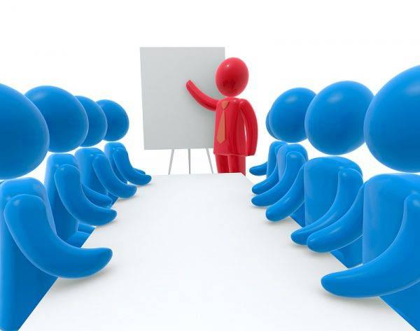 Cartoon delivering a presentation