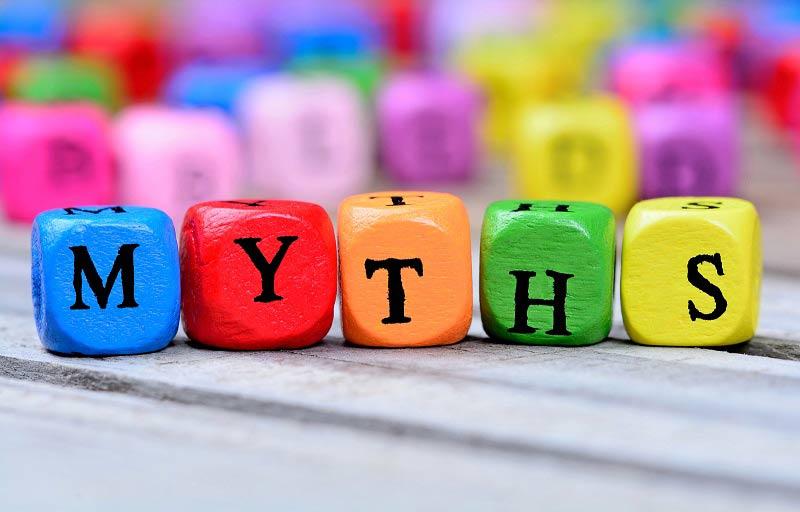 Wooden blocks spelling MYTHS