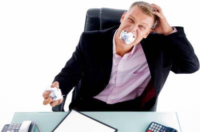 man eating paper