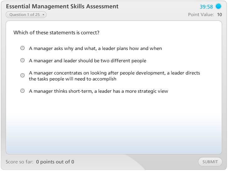 Essential Management Skills Assessment Instructions