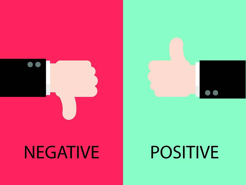Cartoon negative and positive thumbs