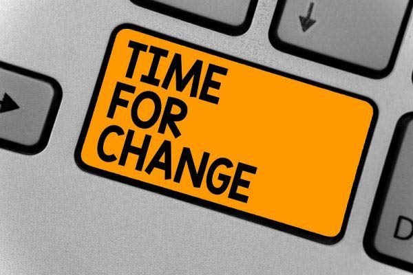 Time for change written on button