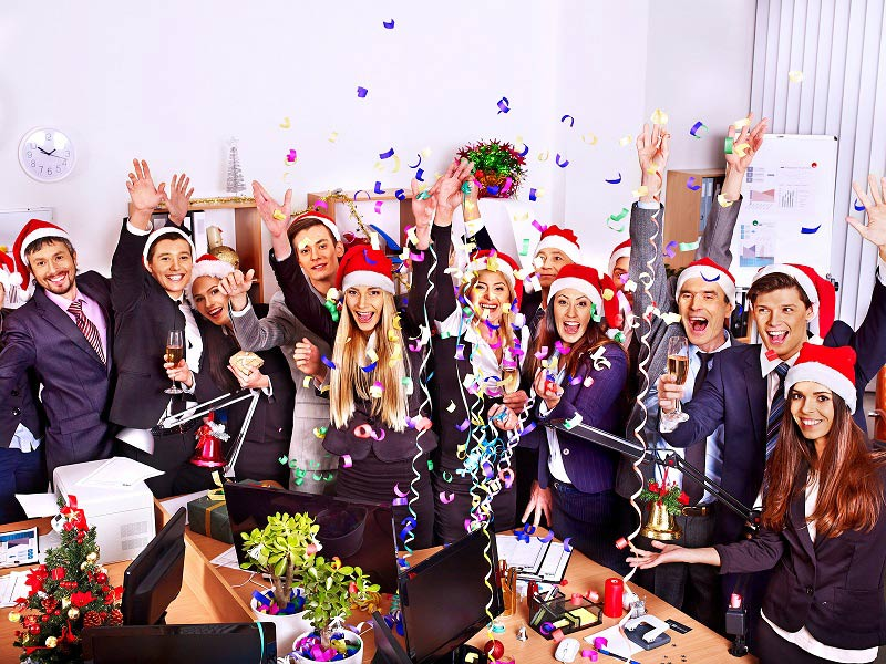 Employees celebrating Christmas