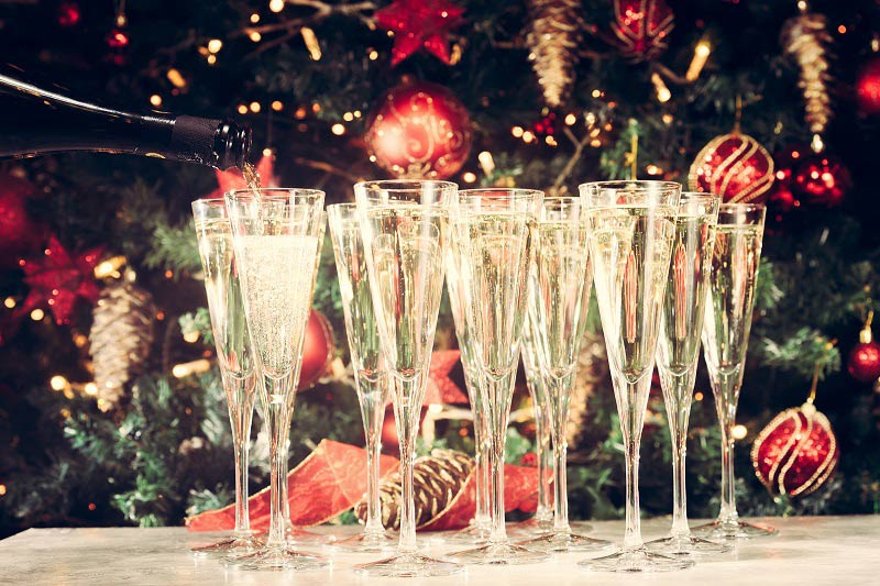 Glasses of champagne for Christmas parties