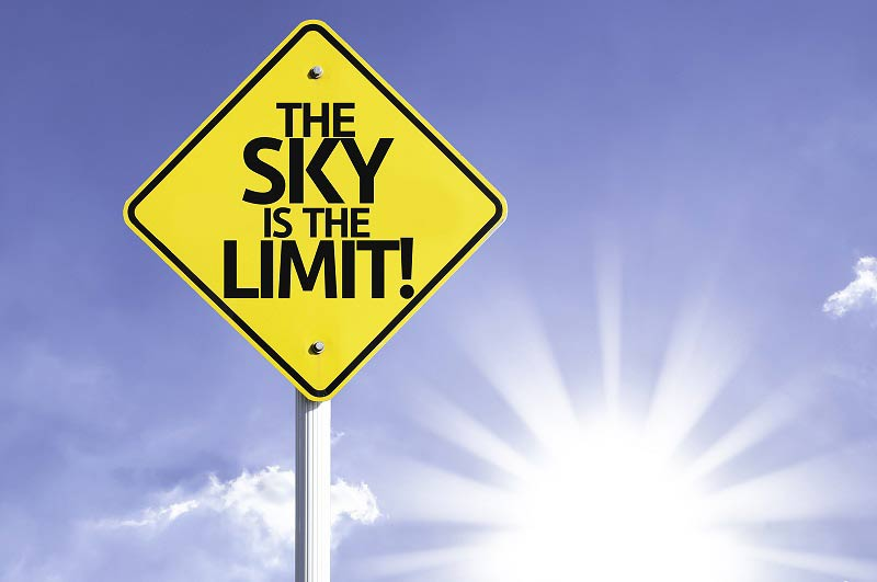 The sky is the limit road sign