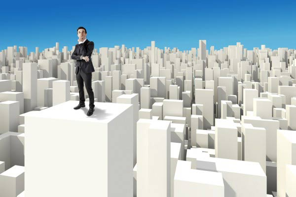 businessman standing on the rooftop of a 3d skyscraper