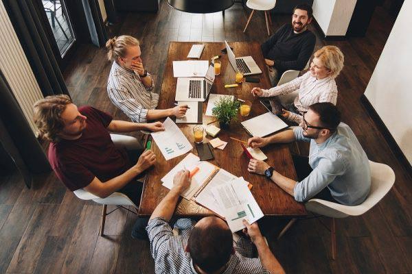 Birdseye view of team meeting