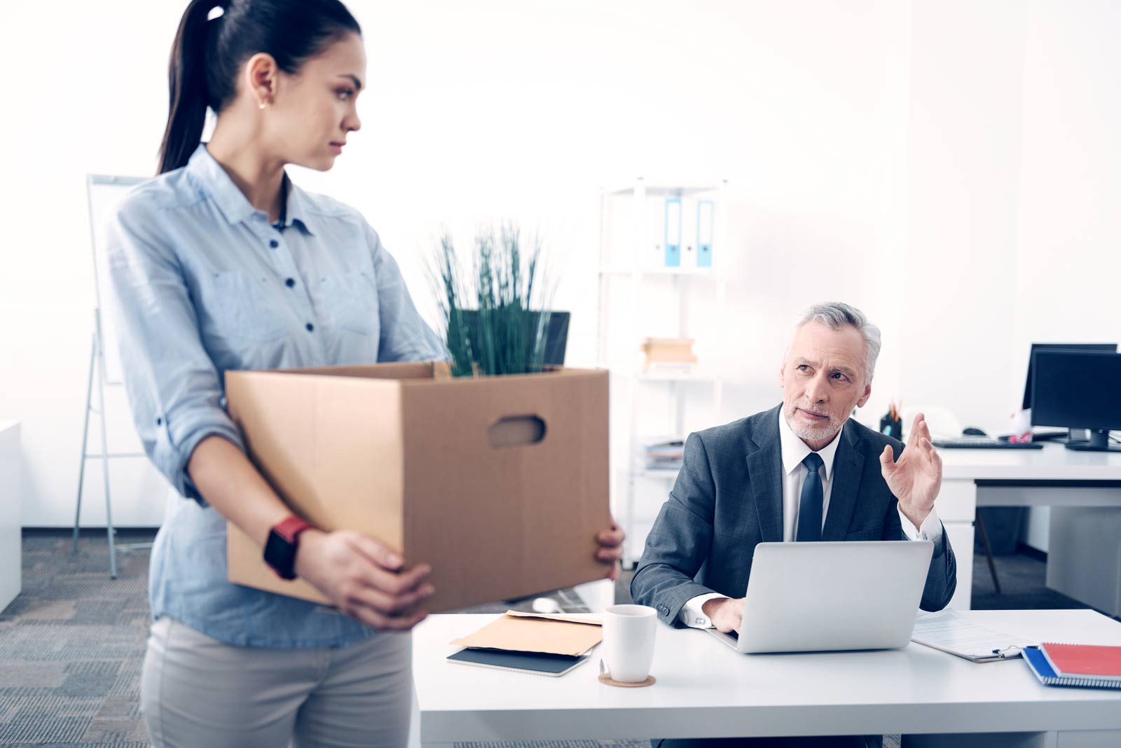 Employee quitting with office items