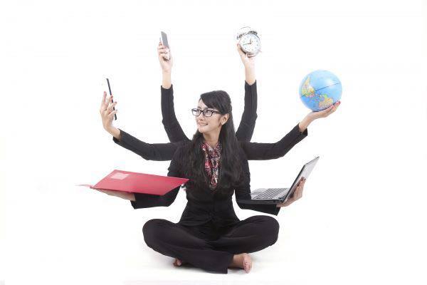 Multi tasking Business Woman