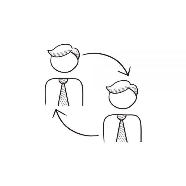 Staff turnover vector sketch
