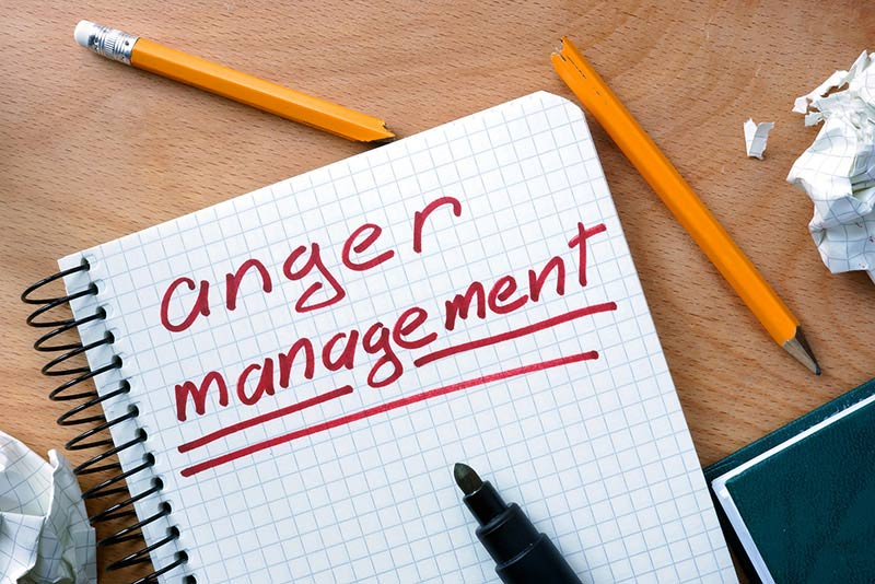 Notepad with Anger Management written