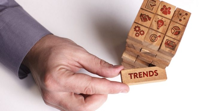Business trends on wooden blocks