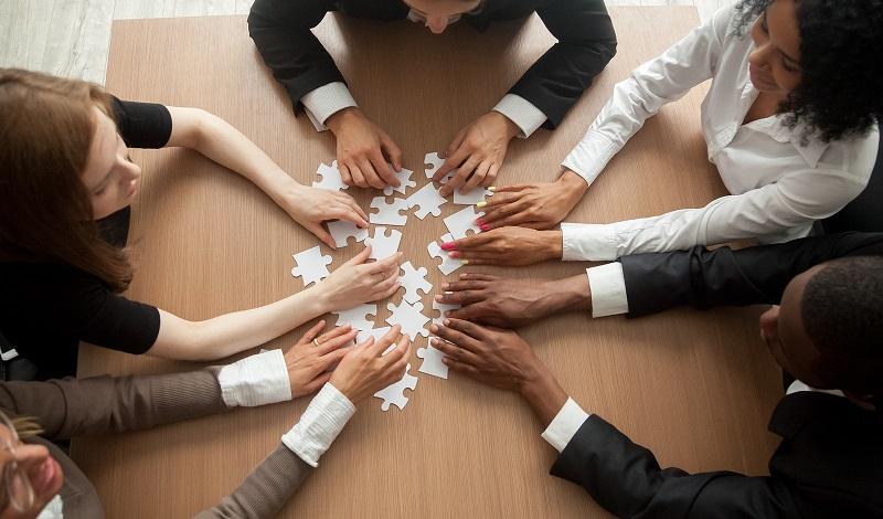 Team engaging in team work
