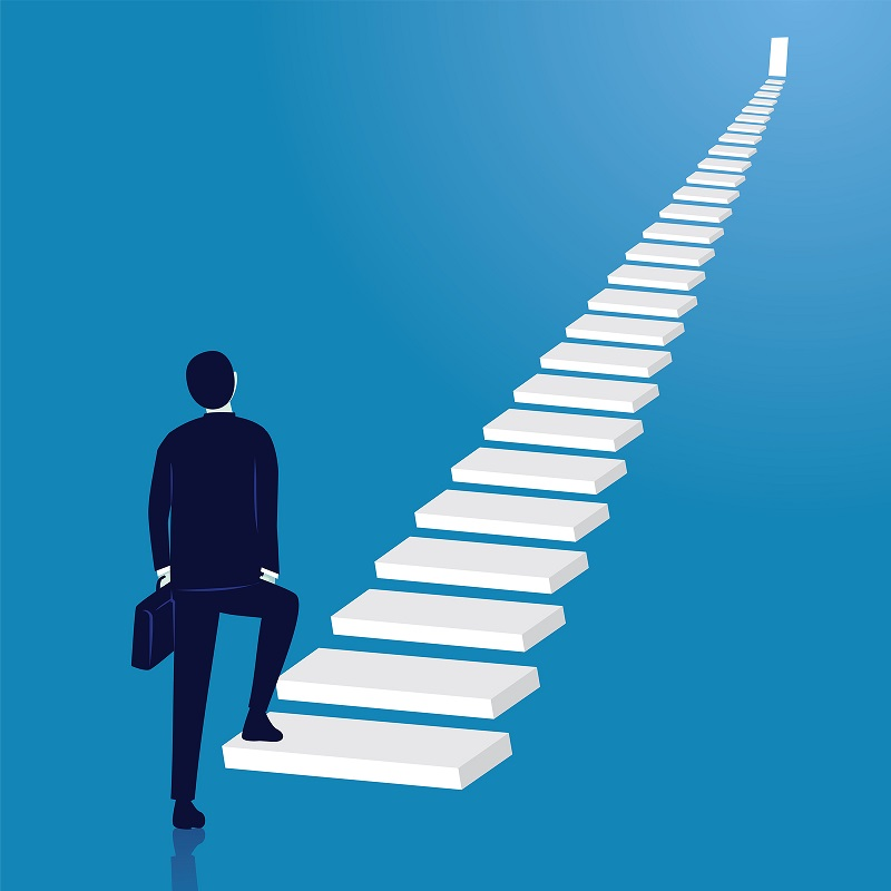 Cartoon businessman walking up career ladder