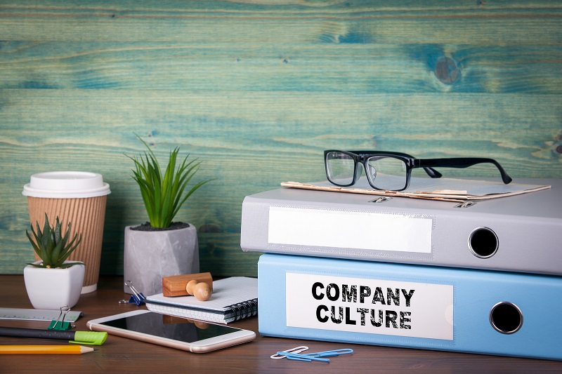 Company Culture folder on a desk