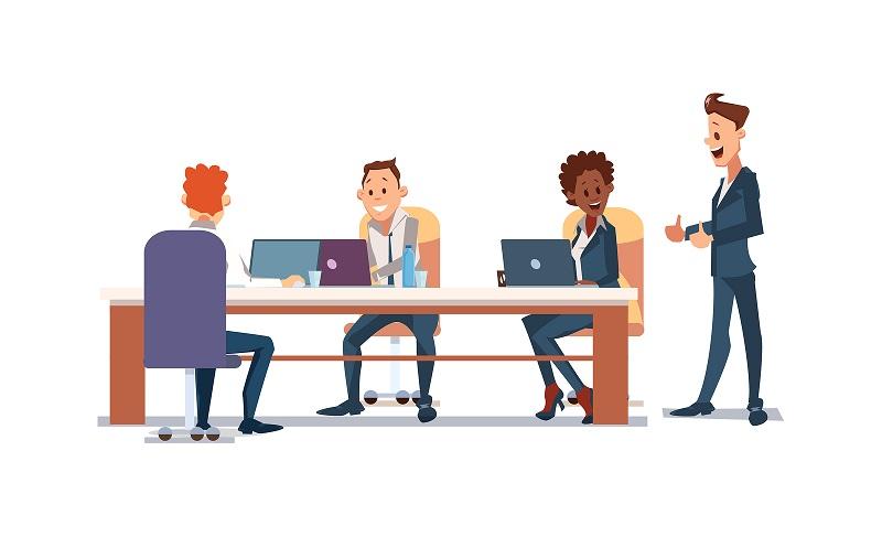 Fun office environment cartoon