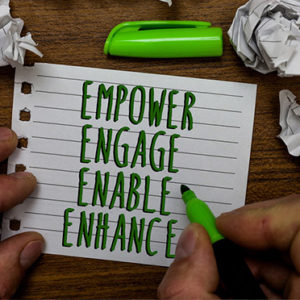 Word writing text Empower Engage Enable Enhance. Business concept