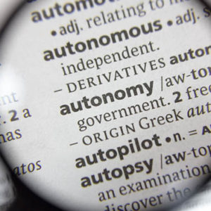 The word of phrase autonomy in a dictionary.