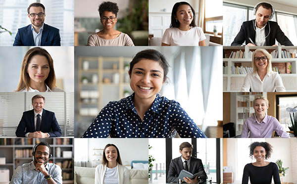 Webcam Screen View Multiracial Businesspeople Involved In Group